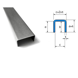 Versandmetall U-profiel gemaakt van roestvrij staal, gevouwen binnenafmetingen axcxb 20x50x20mm, oppervlakteafwerking K320