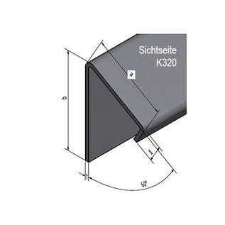 Versandmetall Aluminium Winkel 60° mit Tropfkante innen 1,5mm axb 30x40mm  Länge 2500 mm, eins Schutzfolie