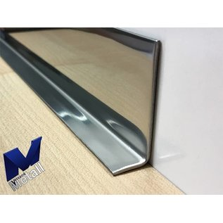 Versandmetall RVS 304 Hoekprofiel Hoekbeschermer binnenhoek Lengte 1000mm binnenzijde gepolijs