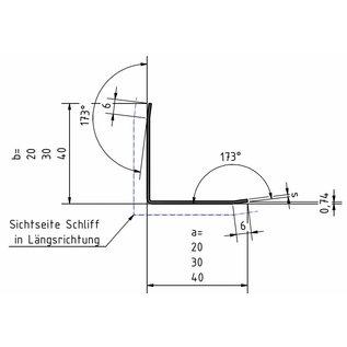 Versandmetall Hoekbeschermer hoekprofiel 35 x 35 dikte 1,5 mm Sparset Lengte 1250  mm geschuurd(grid320)