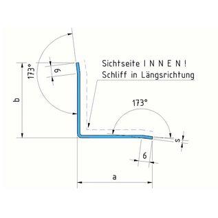 Versandmetall Binnenrandbescherming 3-voudig gevouwen Materiaaldikte 1,0 mm as 23 x 55 mm Lengte 2000 mm Binnen reflecterend, glanzend