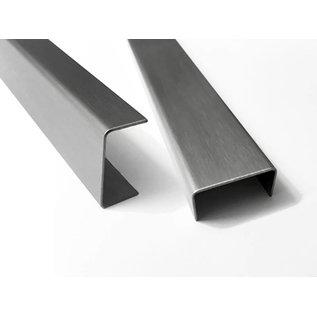 Versandmetall U-Blech aus 1,5mm Edelstahl (V2A 1.4301 - AUSSEN Schliff K320 -   axcxb 18x20x18mm Länge 2.500mm