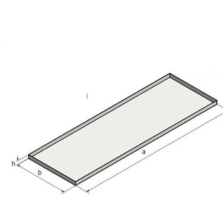Versandmetall Edelstahlwanne Reihe 1 Ecken geschweißt 1,5mm h=10mm axb 310x510mm  einseitig  Schliff K320