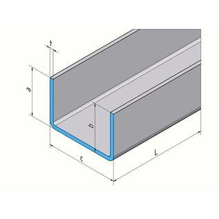 Versandmetall U-Profil aus Aluminium anthrazit (RAL 7016) gekantet bis Breite c= 70-100 mm und Länge 2000 mm
