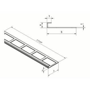 Versandmetall Tegelstrip 2 tegelrand Tegelprofiel roestvrij staal 1,0 mm, reflecterend 2R (IIID)