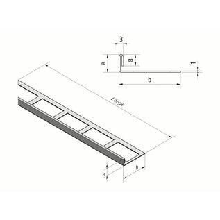 Versandmetall Fliesenleiste 3 Fliesenkante Fliesenprofil  Edelstahl 1,0mm, spiegelnd 2R (IIID)