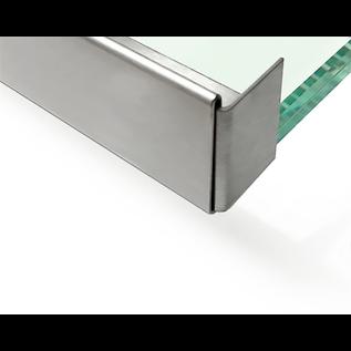 Versandmetall Edelstahl Glasdach-Regenrinne 10mm für ESG-Glas 10 mm oder VSG Glas 10,76mm, 1.4301 aussen Schliff K320