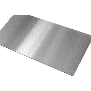 Versandmetall - Gesneden roestvrij staal, V4A (316L) geborsteld graan 320, dikte 1,5 mm. Snij, stomp en ontbraam op BxH 400x2000x1.5mm