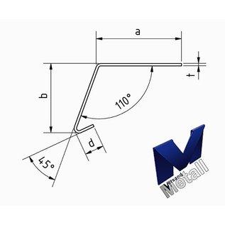 Versandmetall Hoekprofiel 110° met druiprand binnen dikte 1,0 of 1,5 mm 20 mm tot 70 mm Lengte tot 2500 mm  Oppervlake geschuurd(grid320) - Copy