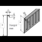 Versandmetall Bovenste delen voor grindvanger roestvrij staal in hoogte verstelbaar 1.4301 Hoogte 80 mm - 90 ° gevouwen