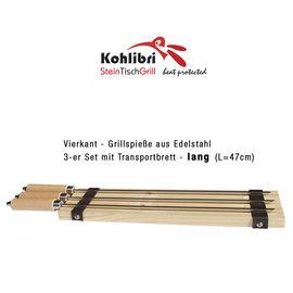 Versandmetall 3-Set Vierkantspieße lang  für den Kohlibri SteinTischGrill