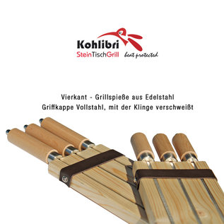 Versandmetall 3-set vierkante spiesen lang voor de Kohlibri SteinTischGrill