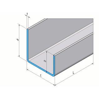 Versandmetall U-profiel ongelijke poten t = 1,5 mm Afmetingen buiten a = 21,5 mm c = 23 mm b = 11,5 mm lengte 2000 mm Oppervlakslijpkorrel 320