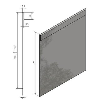 Versandmetall 65 mtr (32x2mtr + 1x1mtr) Stabiele V4A 316L gazonranden Grindlijst met vouw van 1,0 mm dik roestvrij staal (1.4404 / 1.4571) hoogte 200 mm incl. 32 connectoren