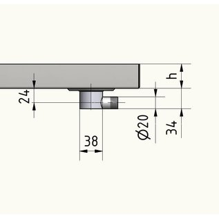 Versandmetall Roestvrijstalen douchebak, douchebak {R1A} 1,5 mm, inwendig slijpen K320, diepte 700 mm, breedte 910 mm, 1 of 2 afvoergaten, hoogte 50 mm - Copy
