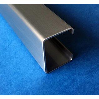 Versandmetall C-profiel geborsteld klein, hoogte 16 mm breedte c = 28 mm lengte 1000 - 2500 mm gemaakt van 1,5 mm roestvrij staal K320