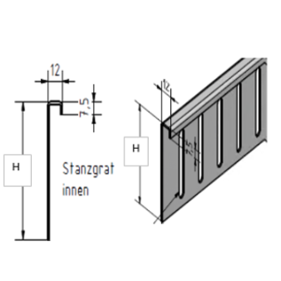 Versandmetall Bovenste delen voor grindstop aluminium in hoogte verstelbaar H = 80 mm L = 2000 mm - 90 ° ingeklapt