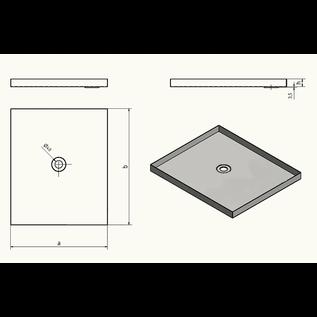 Versandmetall Edelstahl Duschwanne, Duschtasse { R1A } 1,5mm, INNEN  Schliff K320, Tiefe 650 mm, Breite 650 mm, 1  Ablaufbohrung mittig,  Höhe 50mm