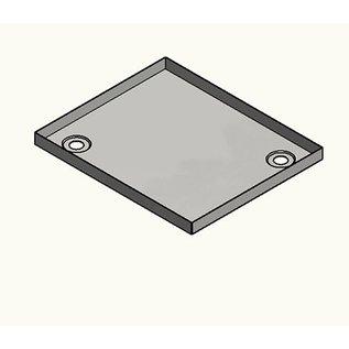 Versandmetall Roestvrijstalen douchebak, douchebak {R1A} 1,5 mm, BINNEN gesneden K320, diepte 850 mm, breedte 900 mm, 4x afvoergat in de hoek, hoogte 50 mm
