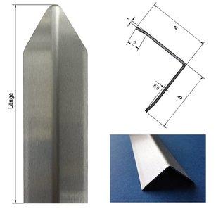 Versandmetall Economy set [45 stuks] Hoekbeschermbeugel modern met punt drievoudig, 30x305x1mm lengte 1500mm van RVS, oppervlak aan één zijde met korrel 320.