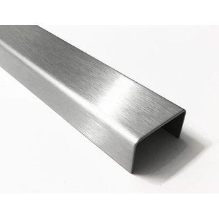 Versandmetall U-profiel van roestvrij staal, ongelijk afgewerkt, binnenmaat axcxb 10x40x30mm, oppervlakteafwerking K320