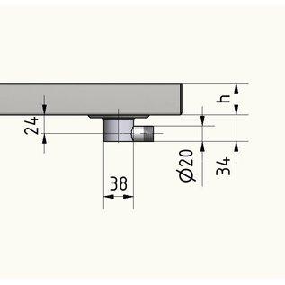 Versandmetall RVS douchebak, douchebak {R1A} 1,5 mm, BINNEN grondvoeg K320, diepte 1000 mm, breedte 1000 mm, 1 of 2 afvoergaten, hoogte 25 mm
