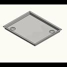 Versandmetall -Roestvrijstalen douchebak, douchebak {R3A} 1,5 mm, BINNEN gesneden K320, rand 18,5 mm, diepte 800 (763) mm, breedte 800 (763) mm, 1 afvoergat in de hoek, hoogte 50 mm - Copy