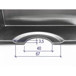 Versandmetall Edelstahl Duschwanne, Duschtasse { R3A-2} 1,5mm, INNEN  Schliff K320, Tiefe  663 (700) mm, Breite  663 (700) mm, 1  oder 2 Ablaufbohrungen,  Höhe 30mm umlaufender Rand 20mm