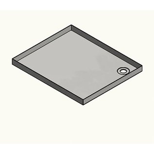 Versandmetall RVS douchebak, douchebak {R1A} 1,5 mm, BINNEN grondvoeg K320, diepte 695 mm, breedte 695 mm, 1 of 2 afvoergaten, hoogte 55 mm