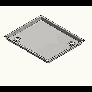 Versandmetall -Roestvrijstalen douchebak, douchebak {R3A} 1,5 mm, BINNEN gesneden K320, rand 18,5 mm, diepte 700 (737) mm, breedte 700 (737) mm, 1 afvoergat in de hoek, hoogte 20 mm