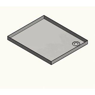 Versandmetall RVS douchebak, douchebak {R1A} 1,5 mm, INSIDE slijpvoeg K320, diepte 1000 mm, breedte 800 mm, 1 of 2 afvoergaten, hoogte 70 mm