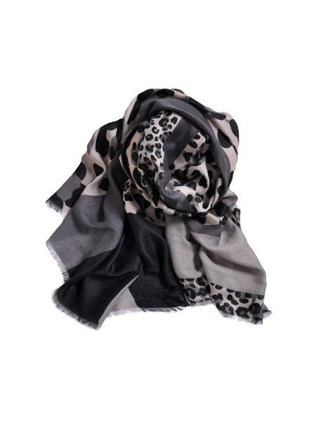 Fashion Favorite Leopard Sjaal Grijs
