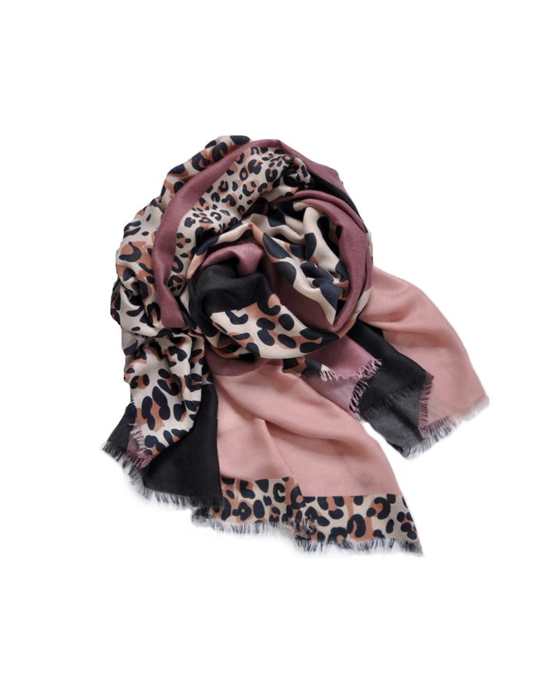 Fashion Favorite Leopard Sjaal Oudroze