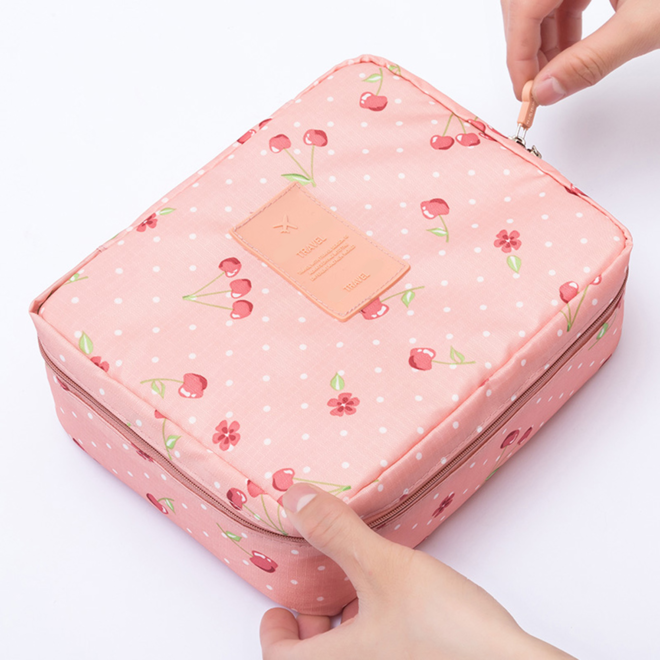 Travel 'Pink Cherry' Toilettas Roze Kersen   Make Up Organizer/Travel Bag/Reistas