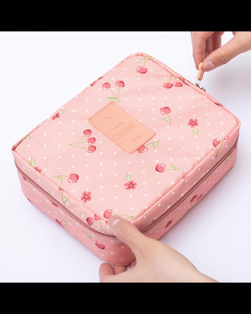Fashion Favorite Travel 'Pink Cherry' Toilettas Roze Kersen | Make Up Organizer/Travel Bag/Reistas