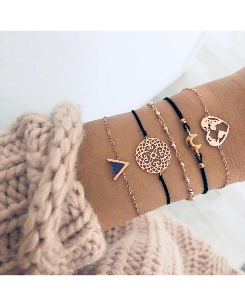 Fashion Favorite Set Armbanden Heart | 5 - delig | Goudkleurig | 16-19 cm