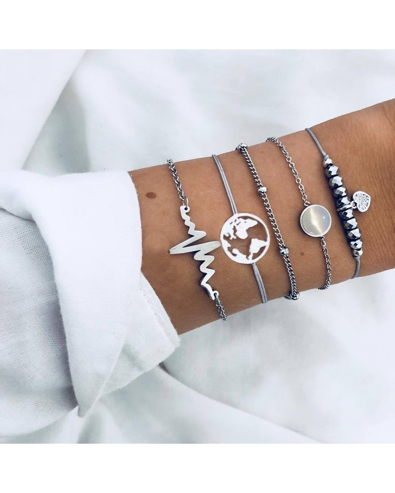 Fashion Favorite Set Armbanden Heartbeat | 5 - delig | Zilverkleurig | 17 - 19  cm