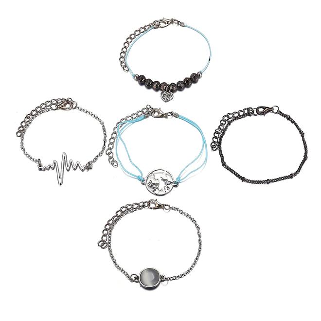 Set Armbanden Heartbeat | 5 - delig | Zilverkleurig | 17 - 19  cm