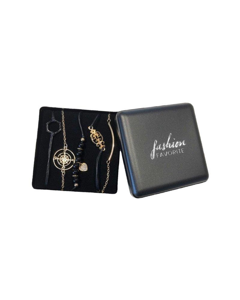 Fashion Favorite Set Armbanden Diamond   5 - delig   Goudkleurig   18 cm
