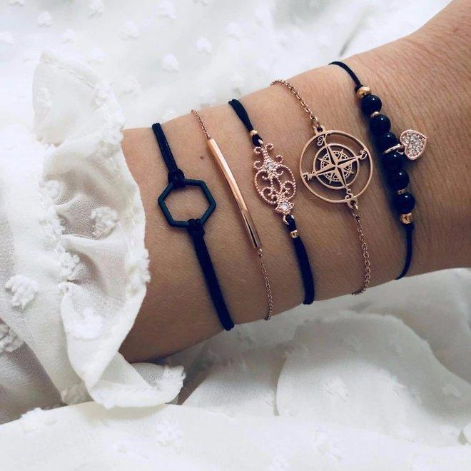 Set Armbanden Diamond | 5 - delig | Goudkleurig | 18 cm