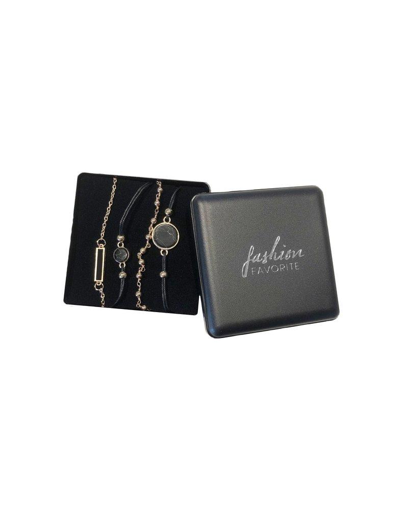 Fashion Favorite Set Armbanden Black Marble | 4 - delig | Goudkleurig | 18 cm
