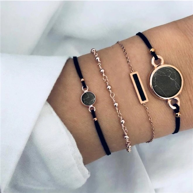 Set Armbanden Black Marble   4 - delig   Goudkleurig   18 cm