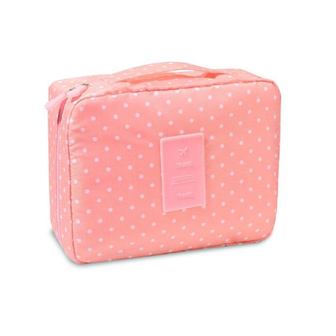 Travel 'Pink Dot' Toilettas Roze Stippen   Make Up Organizer/Travel Bag/Reistas