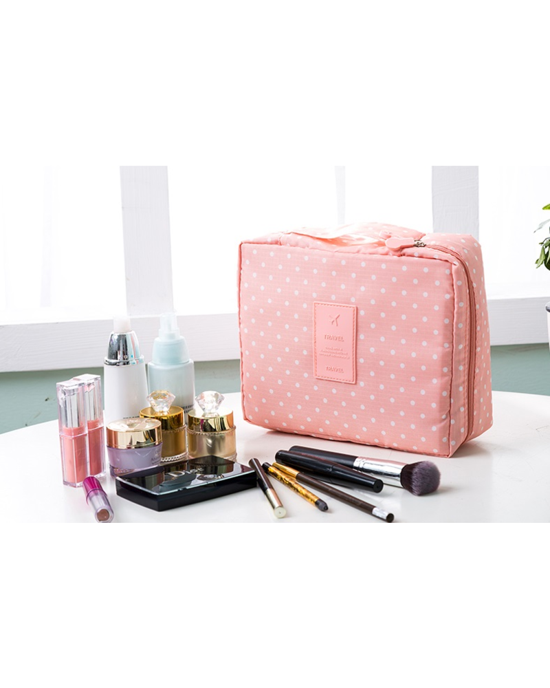 Fashion Favorite Travel 'Pink Dot' Toilettas Roze Stippen | Make Up Organizer/Travel Bag/Reistas