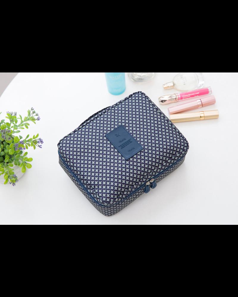 Fashion Favorite Travel 'Blue Star' Toilettas Blauw/Groen | Make Up Organizer/Travel Bag/Reistas