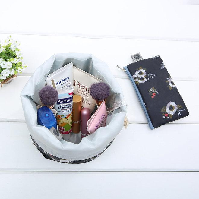 Make Up Organizer / Reistas / Toilettas | Zwart Bloemen | 23 x 17 cm