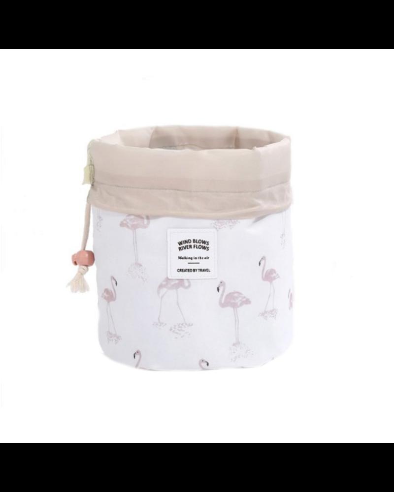 Fashion Favorite Make Up Organizer / Reistas / Toilettas | Wit Flamingo | 23 x 17 cm