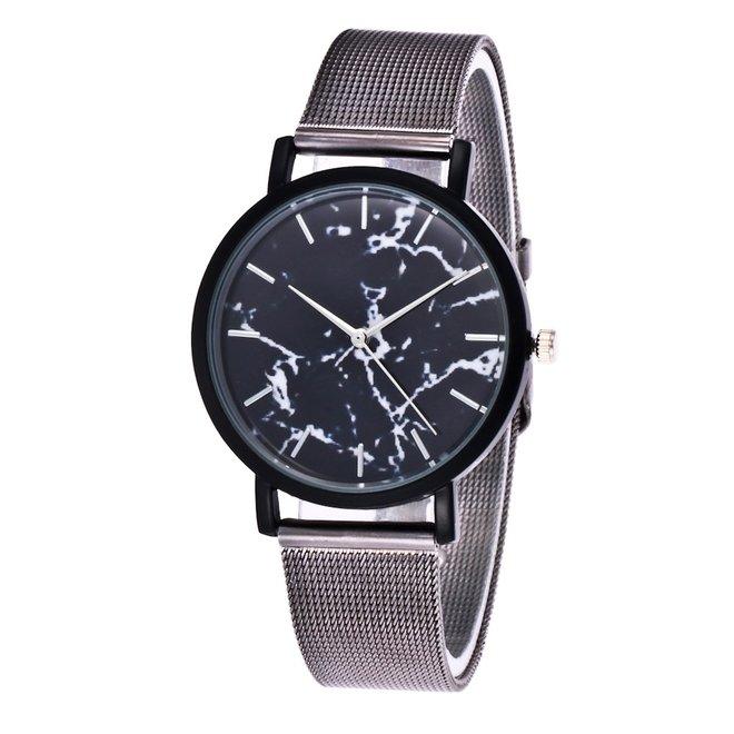 Marble Mesh Grijs/Zwart Horloge - Staal - Ø 38 mm