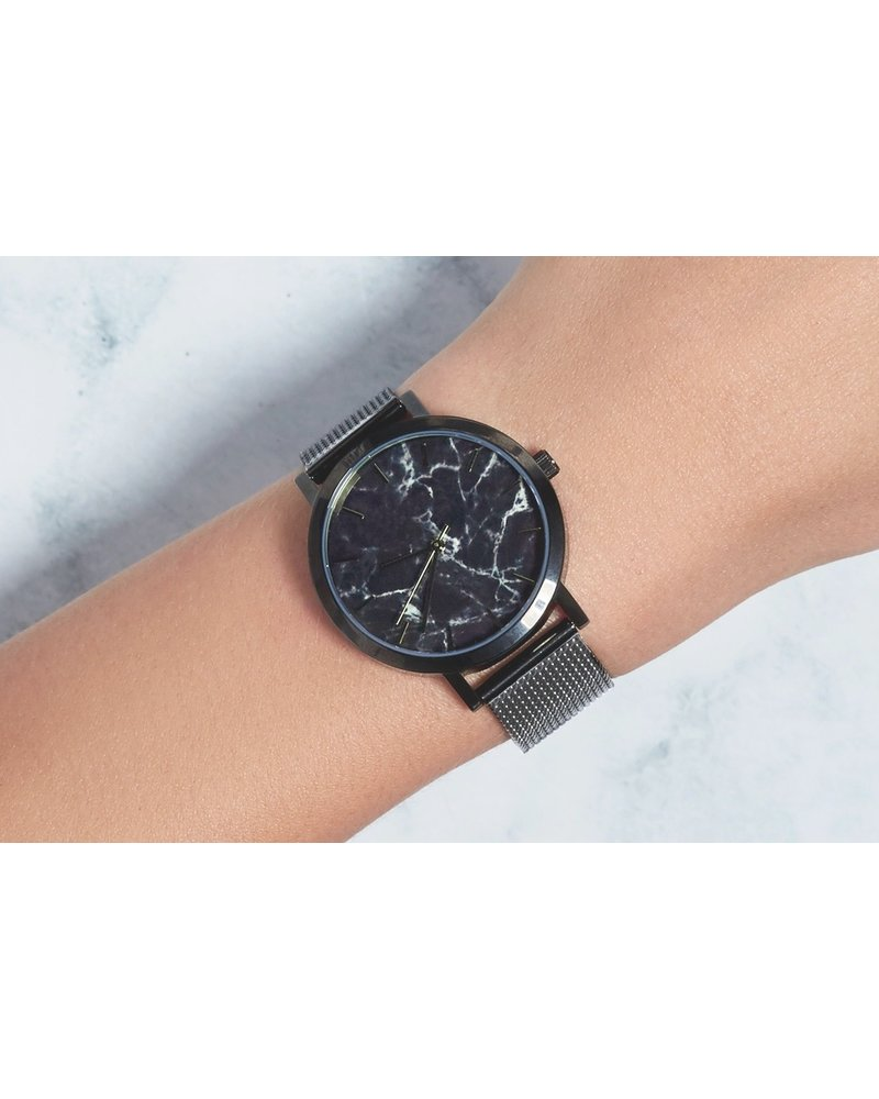 Fashion Favorite Marble Mesh Grijs/Zwart Horloge - Staal - Ø 38 mm