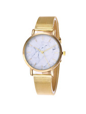 Fashion Favorite Marble Mesh Goud/Wit Horloge